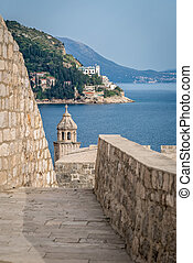 Walking pathway on the walls of Dubrovnik Old Town