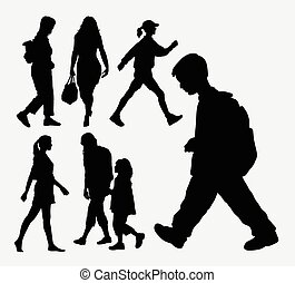 Walking people action silhouette. Good use for symbol, web...