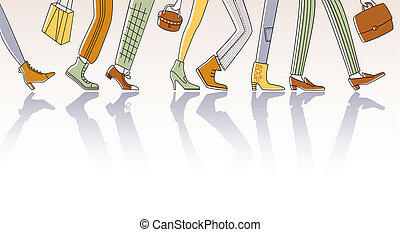 Walking people - Group of city people rushing to work