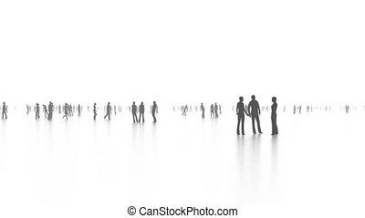 Walking people in crowd in loop