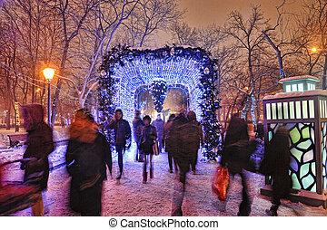 walking people in winter park