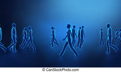 Walking people in x-ray colors with glowing individuals