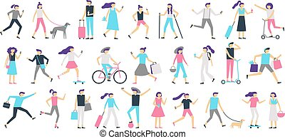 Walking people. Man and woman walk with dog at city, girl looking at smartphone and boy with skateboard vector isolated illustration