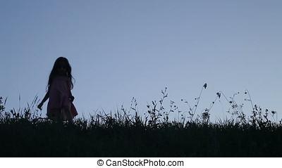 Walking People Mother Grabbing Daughter Sunset Backlit...