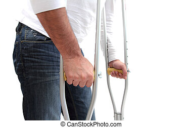 walking problem - closeup of a man walking with crutches