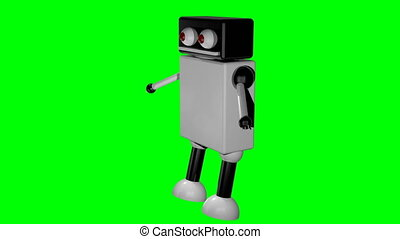 Walking robot on isolated background. 3D rendering. Seamless...