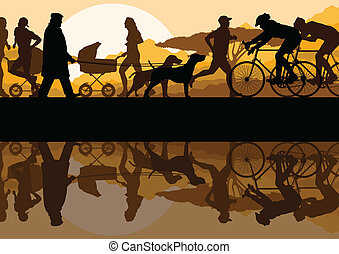 Walking, running and cycling in nature park landscape background illustration vector