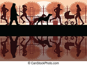 Walking, running and cycling in old vintage city park landscape background illustration vector