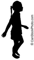 walking school girl silhouette