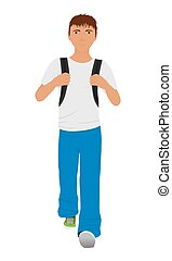 Walking schoolboy with schoolbag behind his back isolated on a white background.