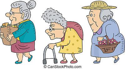 Walking Senior Women - Illustration of Elderly Women Walking...