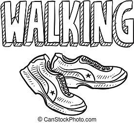 Walking sketch - Doodle style walking sports illustration. ...