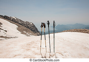 Walking sticks on top of the mountains