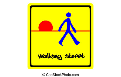 Walking street sign isolated on white