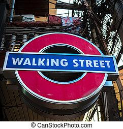 Walking street sign, Pattaya, popular tourist attraction in...