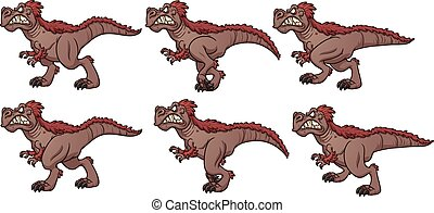 Walking T-rex - Cartoon walking T-rex ready for animation....