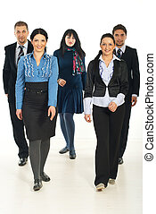 Walking team of business people