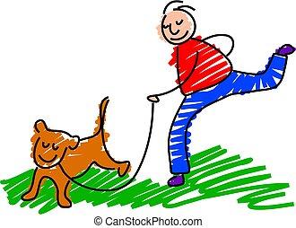 walking the dog - boy walking the pet dog - toddler art