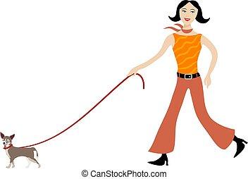 Walking the Dog - woman walking her chihuahua