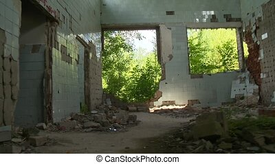Walking through abandoned creepy ussr army building. Old...