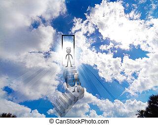 Walking to heaven blue shiny sky