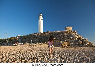 walking to lighthouse