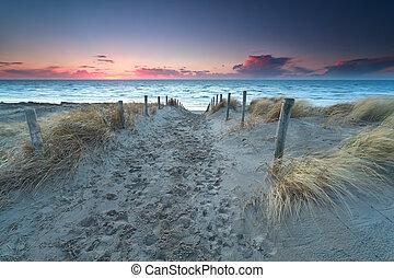 walking to North sea beach at sunset
