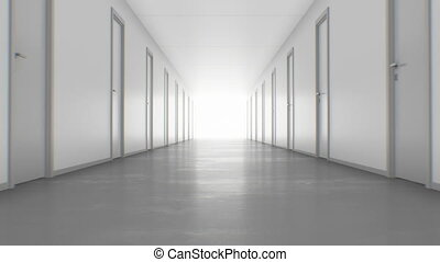 Walking to the Light Through the Endless Corridor with Closed Doors. Looped 3d Animation. Light in the End, Business and Technology Concept. 4k Ultra HD 3840x2160