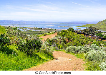 Walking trail in Don Edwards wildlife refuge, San Francisco bay and the Dumbarton bridge visible in the background, Fremont, California