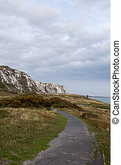 A walking trail near the White Cliffs of Dover.
