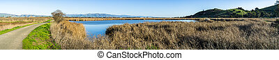 Walking trail through the marshes of Coyote Hills Regional Park; Diablo mountain range in the background, Fremont, east San Francisco bay area, California