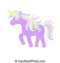 Walking unicorn icon on the white background