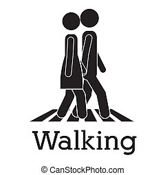 walking design over white background vector illustration
