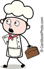Walking with Briefcase and File - Cartoon Waiter Male Chef Vector Illustration