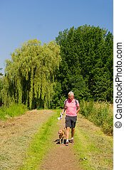 Walking with dog in nature