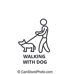 walking with dog thin line icon, sign, symbol, illustation, linear concept, vector