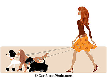 Walking with dogs - Young lady walking dogs