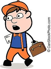 Walking with Letter and Briefcase with Shocked Face - Retro Cartoon Carpenter Worker Vector Illustration