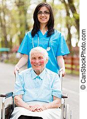 Walking with Senior Lady