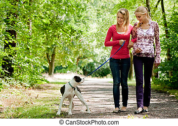 Walking with the dog - Two blond girls and a american...