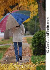 Walking with Umbrella