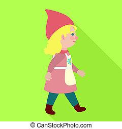 Walking woman gnome icon, flat style