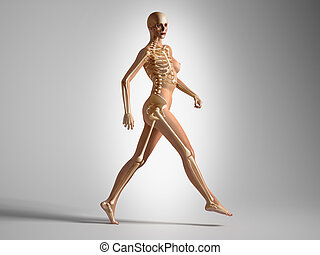 Walking woman with bone skeleton