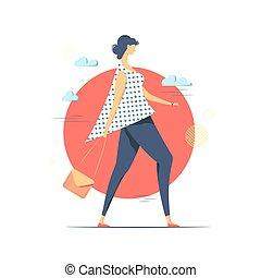 Walking young woman conceptual vector  illustration.