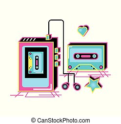 walkman with headphones and cassette of nineties retro