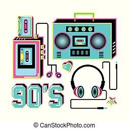 walkman with headphones and radio of nineties retro