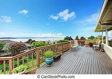 Walkout deck water view