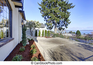 Walkout deck with concrete floor and railings