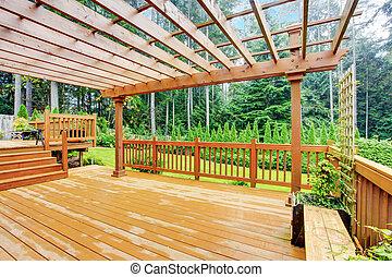 walkout, deck, zugewandt, hinterhof, landschaftsbild