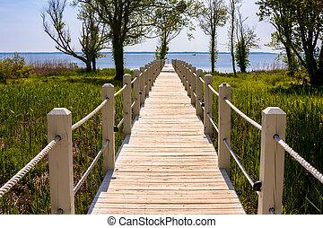 walkway, à, les, océan